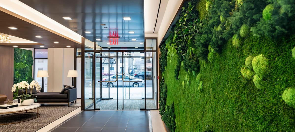 Plant wall in a hotel entrance
